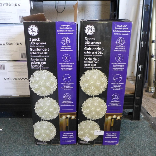 3064 - Two packs of Led Spheres 3Pk   (275)      (Ajs 187)  Rrp £17.99 + Vat * This Lot Is Subject To Vat...