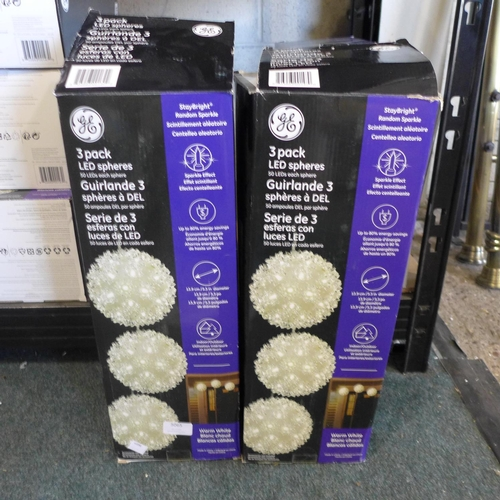 3065 - Two packs of Led Spheres 3Pk   (275)      (Ajs 187)  Rrp £17.99 + Vat * This Lot Is Subject To Vat...