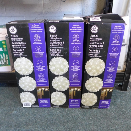 3066 - Three packs of Led Spheres 3Pk   (275)      (Ajs 187)  Rrp £17.99 + Vat * This Lot Is Subject To Vat...
