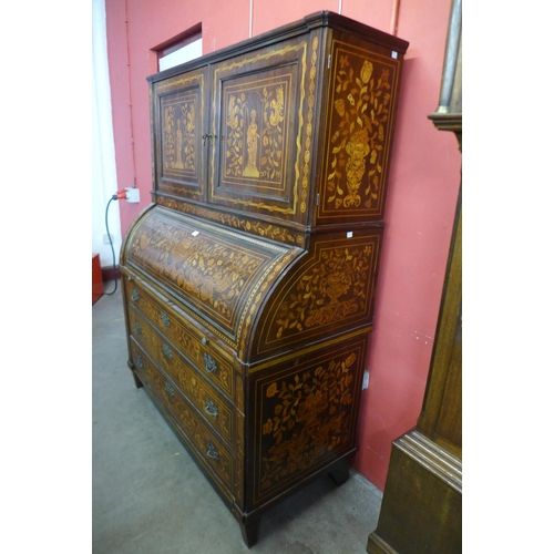 60 - An 18th Century Dutch rosewood and marquetry inlaid bureau bookcase...