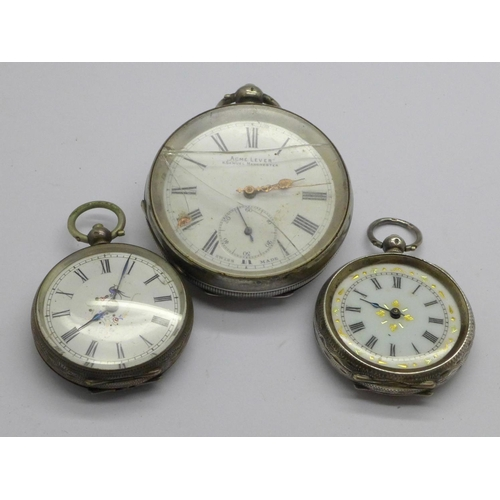 1043 - A silver pocket watch and two silver fob watches, a/f...