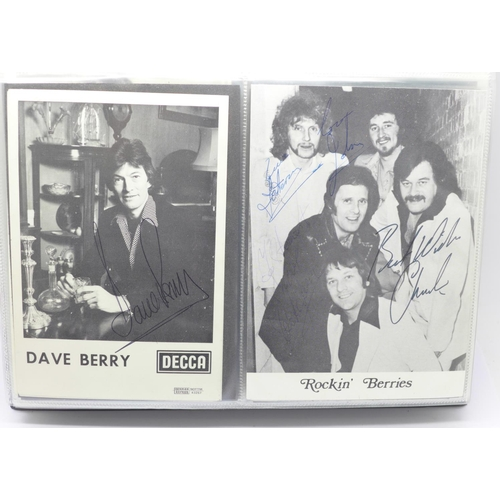 625 - An autographed photograph album including Dave Berry, Rockin Berries, Swinging Blue Jeans, Acker Bil...