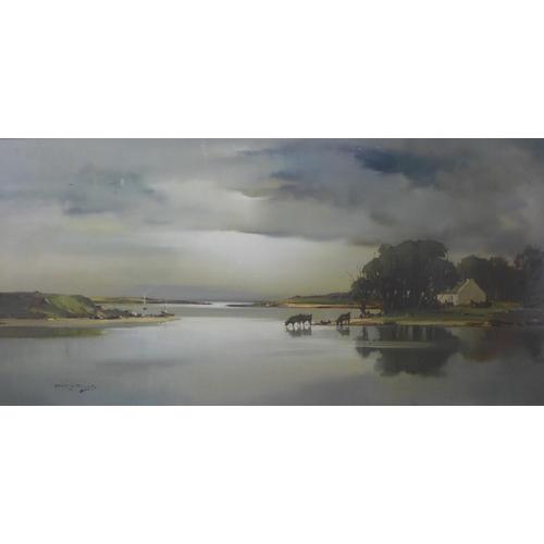 10 - Arthur Hitwells, Solitude Towards Evening, L' Ree Co. Westmeath, oil on canvas, 44 x 89cms, framed...
