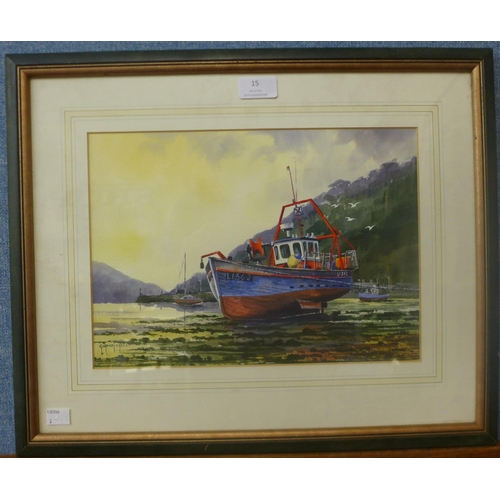 15 - Gordon Chell, Fishing Boat, Fishguard, Pembrokeshire, watercolour, 23 x 33cms, framed...