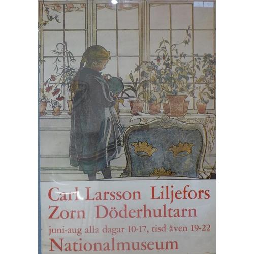 2 - A  Carl Larsson exhibition poster, Liljefors & Zorn Döderhultarn, Nationalmuseum, 99 x 69cms