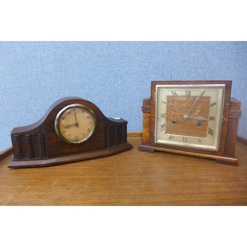 37 - An Art Deco oak mantel clock and one other...