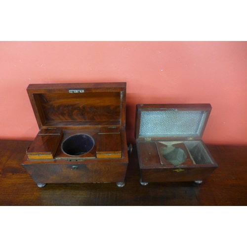 68 - Two Victorian mahogany sarcophagus shaped tea caddies...