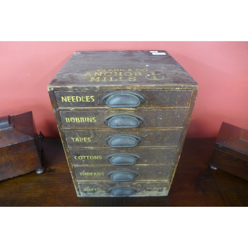 69 - A Victorian pine six drawer counter top haberdashery cabinet, bearing Clark & Co., Anchor Mills insc...