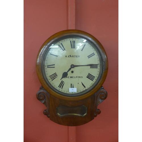 82 - A 19th Century mahogany fusee wall clock, the painted 12 inch circular dial signed H. Carter, Long M...