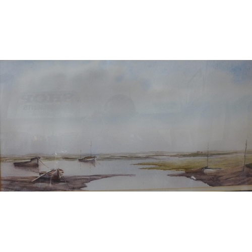 16 - George Curtis, Top of Morston Creek - Low Tide, watercolour, 24 x 47cms, framed...