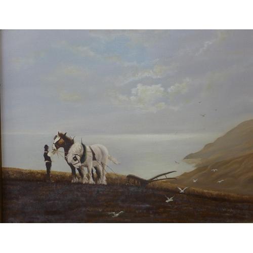18 - A.R. Taylor, ploughing scene, oil on canvas, 36 x 47cms, framed...