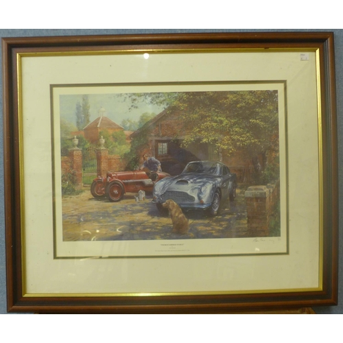 22 - A signed Michael Turner limited edition print, 1955 Mille Miglia and a signed Alan Fearnley limited ...