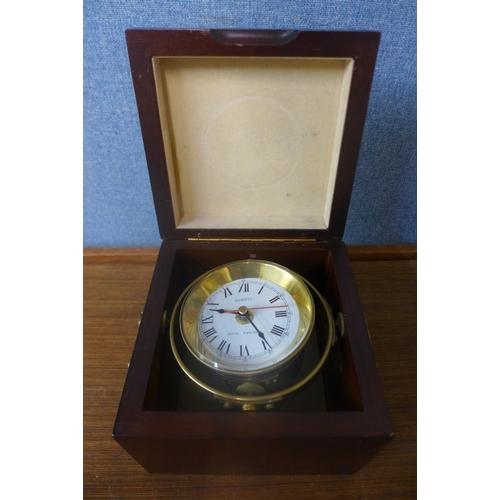 38 - A Royal Mariner quartz clock, mahogany case...