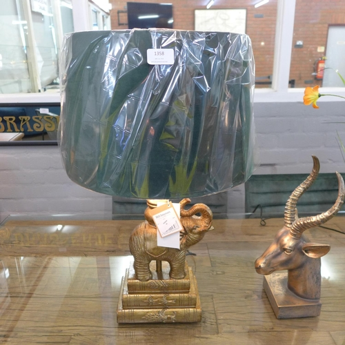 1358 - A gilt elephant table lamp with emerald green shade (2023927)   #...