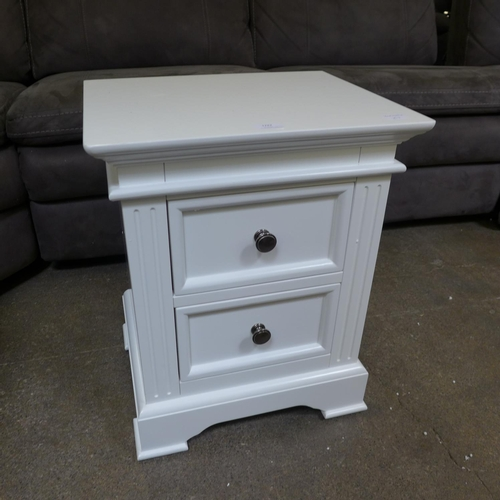 1747 - A white painted two drawer bedside chest, ref 17 * this lot is subject to VAT...