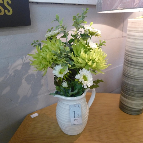 1388 - Mixed flowers in a white ribbed jug (55742113)   #...