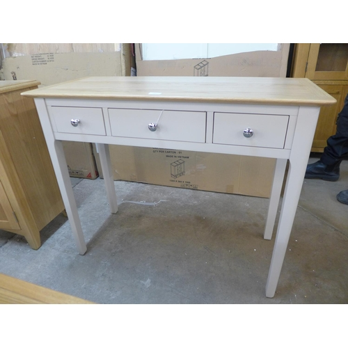 1457 - An oak and grey painted three drawer console table * this lot attracts vat...