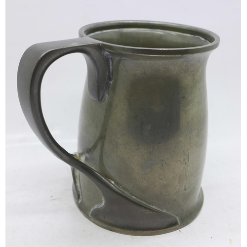 605 - A Tudric pewter tankard marked Solkets, (Wm Haseler of Birmingham who made for Liberty) Made in Engl...