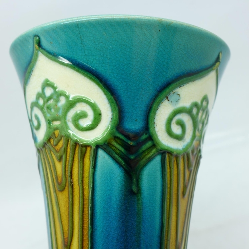 608 - An Art Nouveau Minton vase, marked No.1 to the base, small hairline crack to the rim...