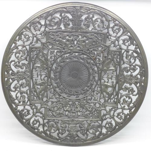 610 - A signed Coalbrookdale metal plaque, 29cm...