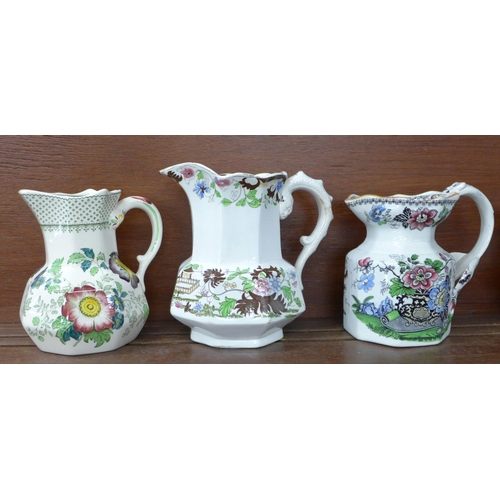 611 - Six jugs including Mason's and one marked Japan Flowers...