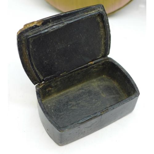 612 - Two miniature portraits and a Victorian papier mache snuff box...