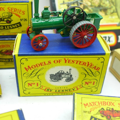 615 - Sixteen Matchbox Toys and Models of Yesteryear boxes, one with contents and a Matchbox Nato Paratroo...