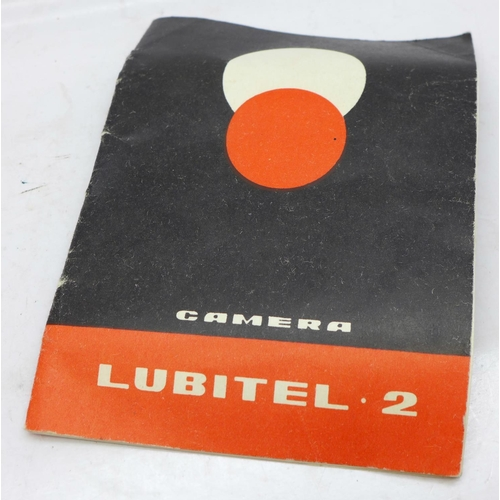616 - A T.L.R. Lubitel 2 camera, case and leaflet...