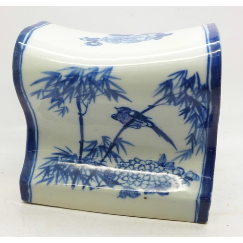 623 - A Chinese blue and white ceramic head pillow...