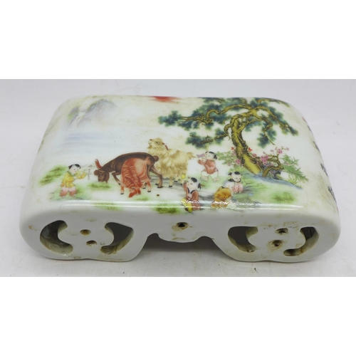 624 - A Chinese Republic period hand rest decorated with children and goats...