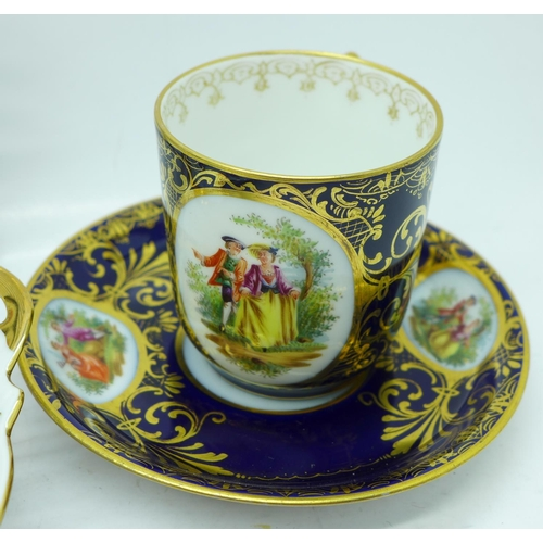 625 - Two Vienna cups and saucers and two Dresden dishes...