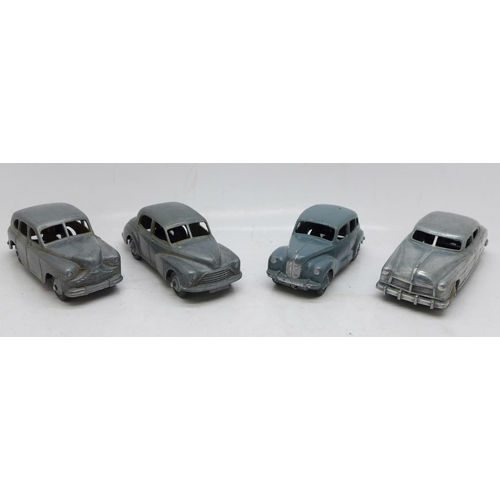626 - Four Dinky Toys die-cast model vehicles, Hudson Sedan, Morris Oxford and two others...