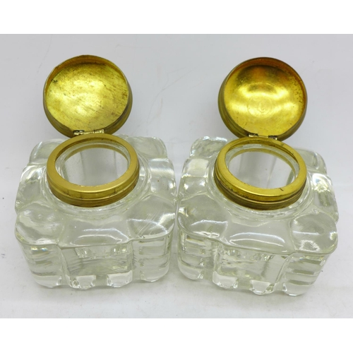 630 - A pair of glass inkwells, two apple shaped boxes and one other box...