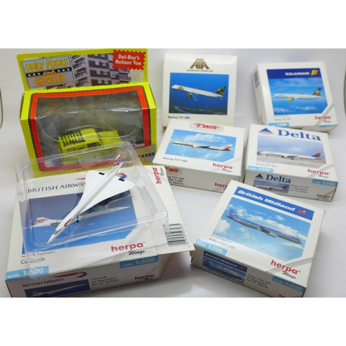 636 - Seven model airliners including six Herpa Wings, boxed...