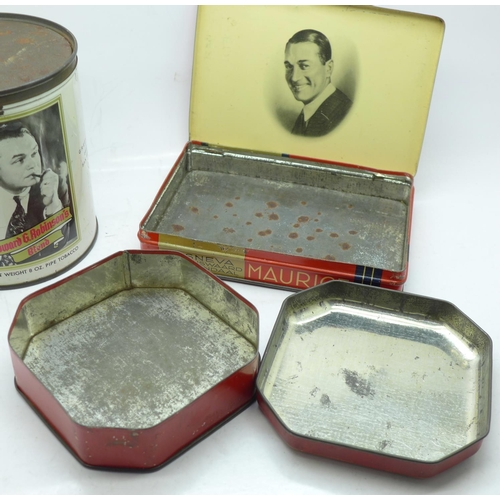 641 - Three advertising tins; Maurice Chevalier, Edward G Robinson and Jackie Cooper...