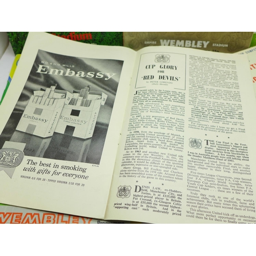653 - FA Cup, Euro and World Cup 1966 programmes including 1961, 1962, 1963 and 1968 FA Cup Finals and Lea...