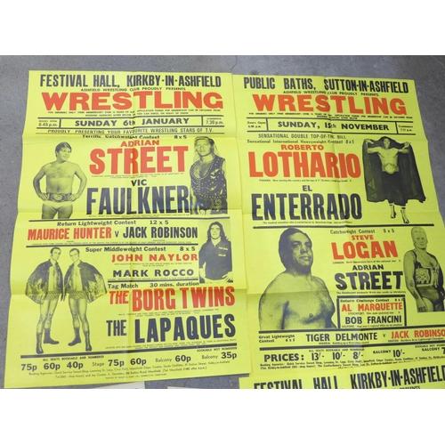 655 - Wrestling; three wrestling posters inc Les Kellet , Steve Logal, etc. and seven 1940's wrestling fly...