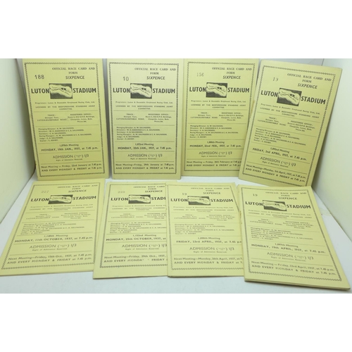 660 - Fifteen Luton Greyhound Stadium race cards from 1937 and one from 1969...