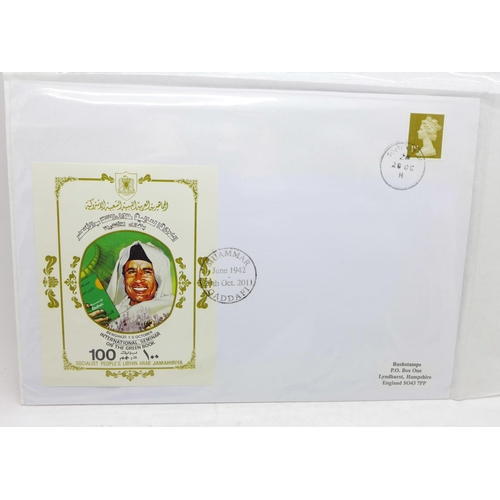 663 - A set of three first day covers, 20 October 2011 with Gadaffi in the design, 75th Anniversary of Sco...