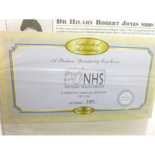 664 - Two coin covers 1) 50th Anniversary of The National Health Service 1948 - 1998, certificate of authe...