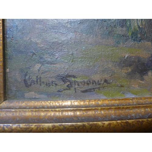 1 - Arthur Spooner, (1873-1962) river landscape with a fisherman, oil on canvas, 44cms x 60cms, framed...