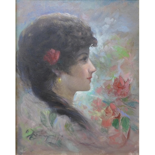 12 - A half portrait of a lady, oil on canvas, 50cms x 39cms, indistinctly signed, framed...