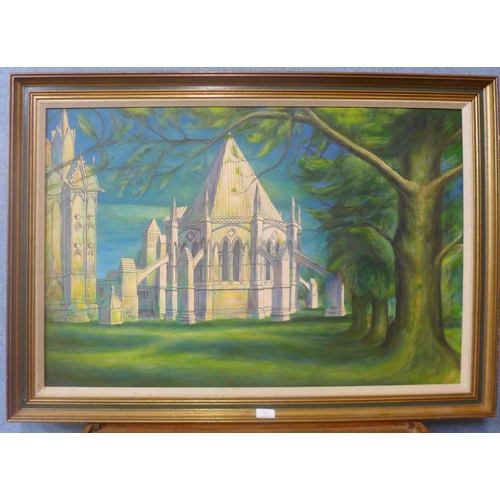 13 - J. Smedley, The Chapter House, Lincoln, oil on canvas, 60cms x 90cms, framed...