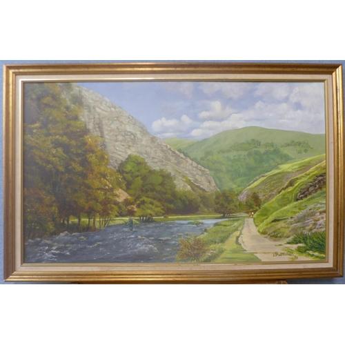 14 - T.W. Wittenbank, landscape with fisherman, oil on board, 58cms x 98cms, framed...