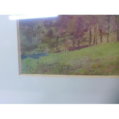 15 - Cuthbert Rigby, Rural landscape, watercolour, 26cms x 43cms, framed...