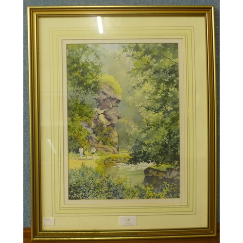 16 - Brian Woodhead, Lion Rock, Dovedale, watercolour, 33cms x 24cms, framed...