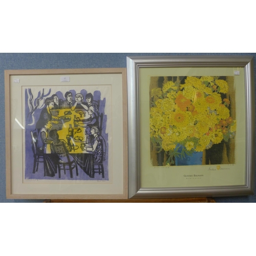 17 - Elaine Mason, family party II, linocut and Gustave Baumann, Marigolds, signed limited edition print,...