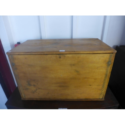 46 - An early 20th Century pine fitted engineers chest...