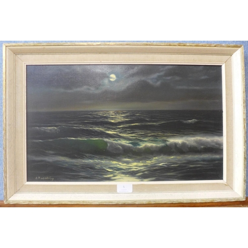 5 - A Beardsley, moonlit coastal landscape, oil on canvas, 29cms x 50cms, framed...