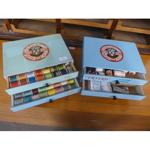 51 - Two Dewhurts Sylko Three Shells haberdashery drawers with contents...